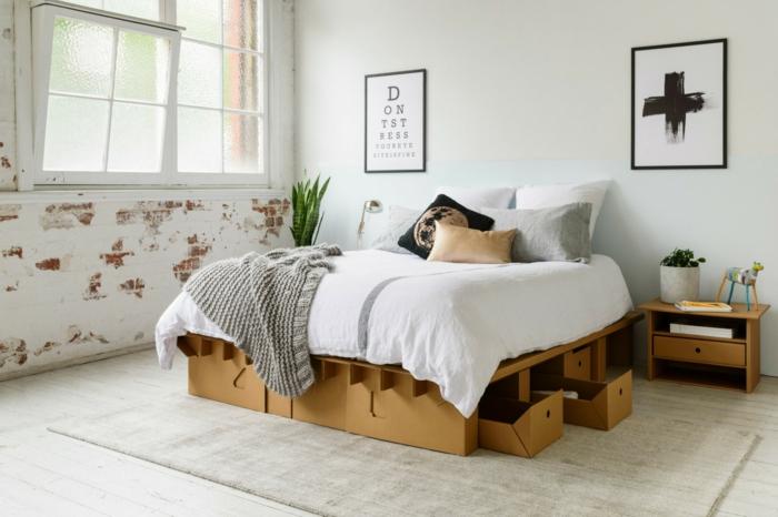 chambre à coucher lit meubles en carton