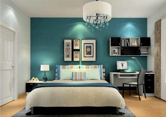 chambre élégante bleu canard