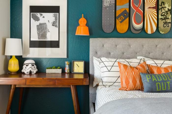 chambre bleu canard accents en couleurs vives