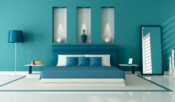 chambre bleu canard 30 id es d 39 am nagement ne pas manquer. Black Bedroom Furniture Sets. Home Design Ideas