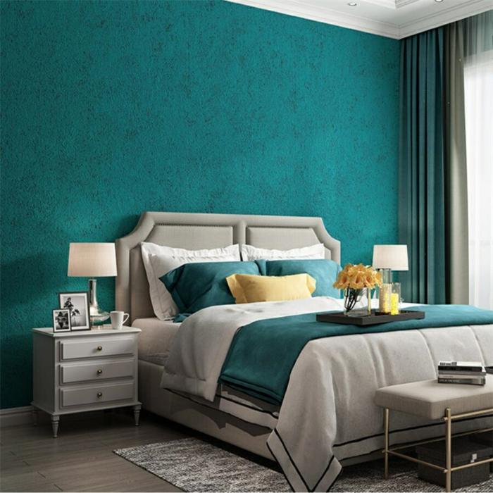 chambre bleu canard et lin