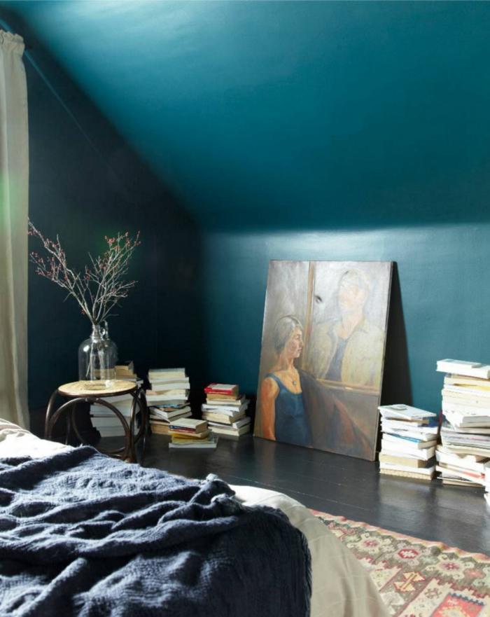 chambre bleu canard scandinave