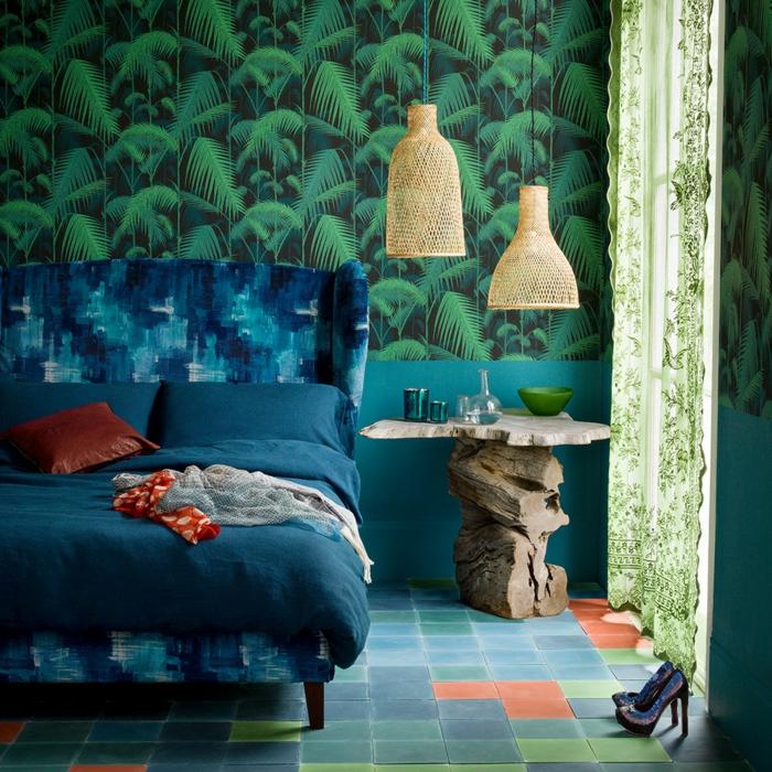 chambre bleu paon et vert