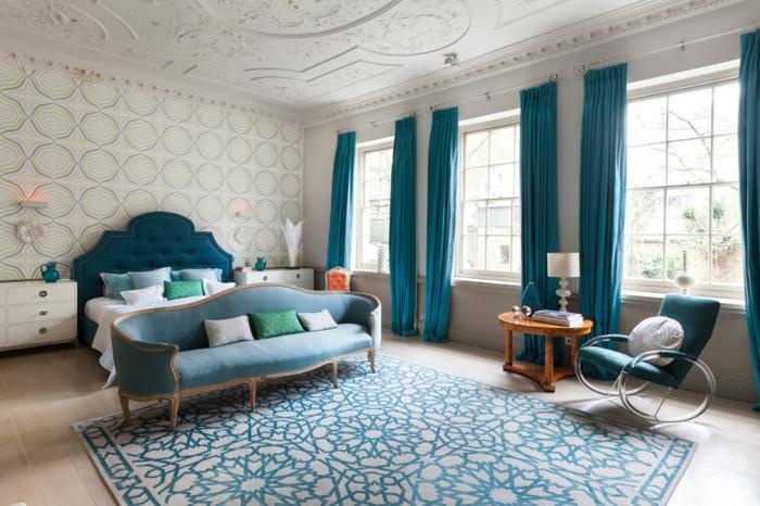 chambre classique bleu canard et beige