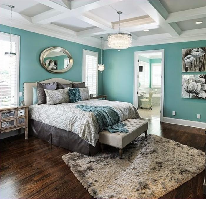 chambre murs bleu canard