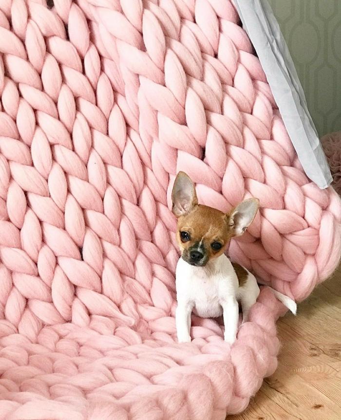 couverture en rose arm knitting