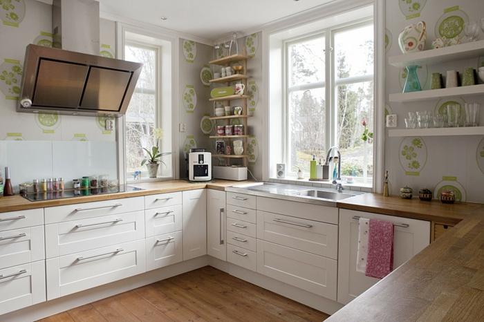 cuisine ikea blanche plan de travail chêne