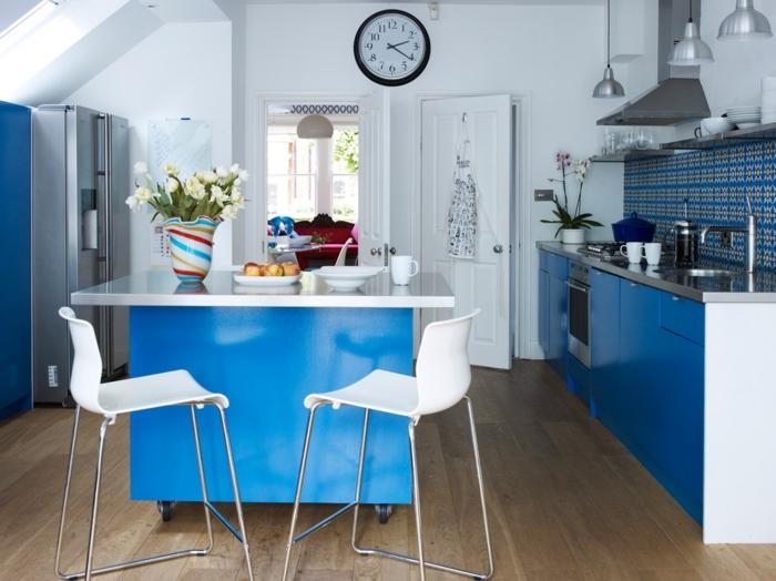 cuisine ikea bleue îlot central