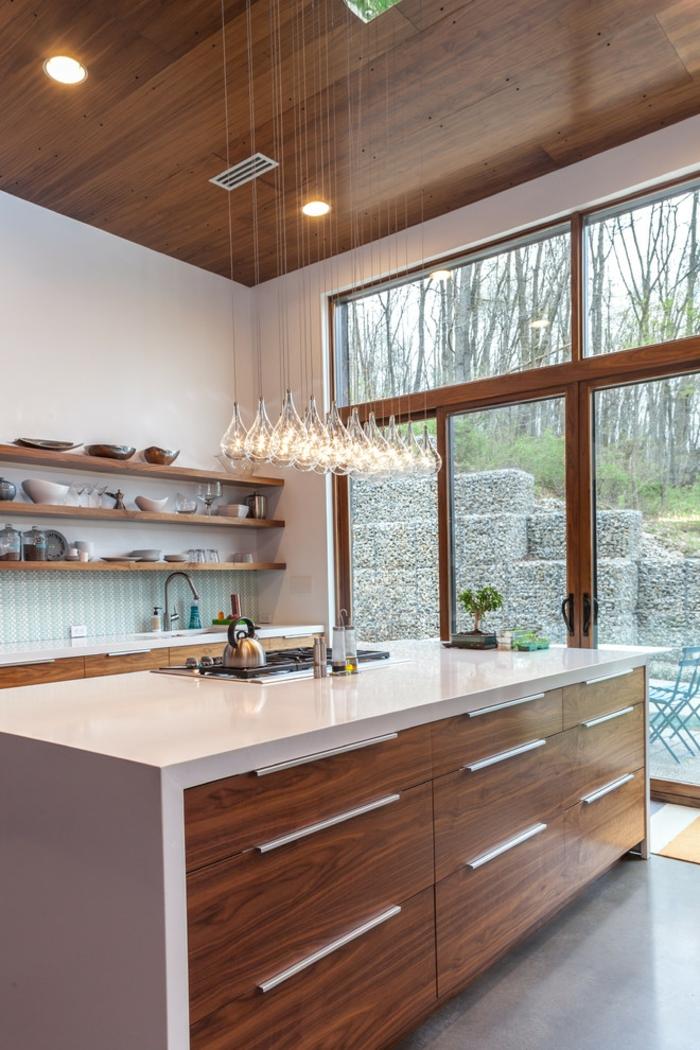 cuisine ikea rangements muraux en bois éclairage style industriel