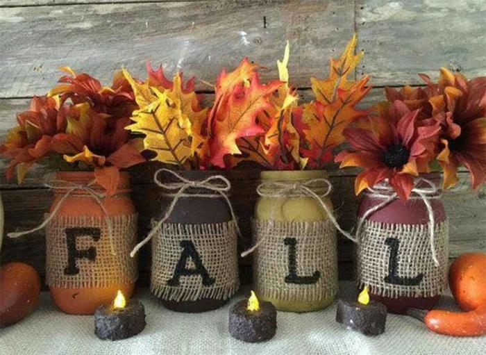 déco automne bocaux peints
