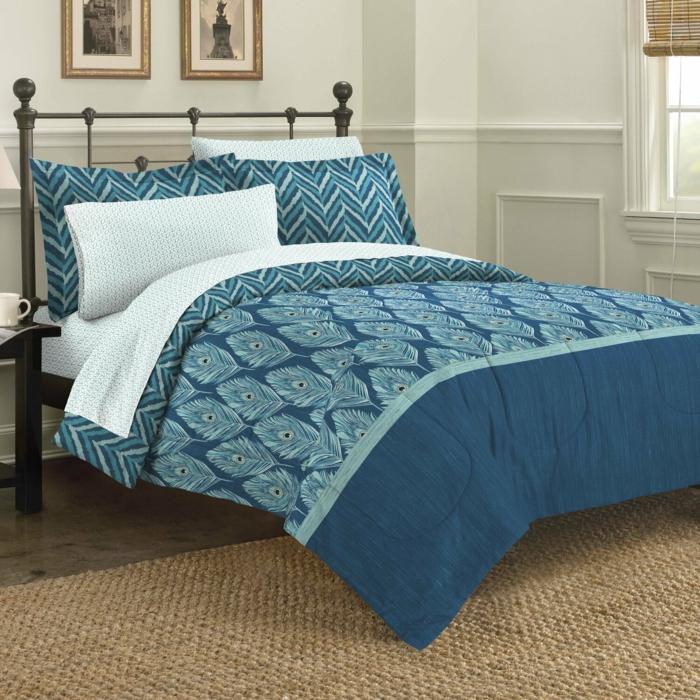 déco chambre bleu canard linge de lit