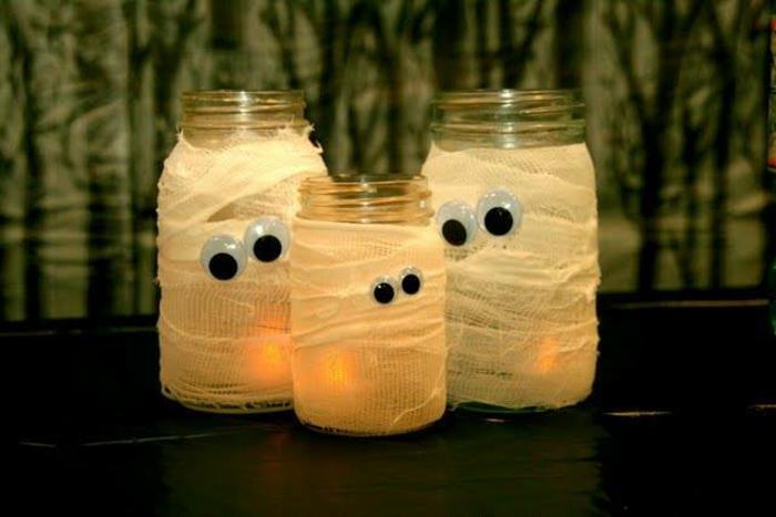 déco halloween momies bocaux