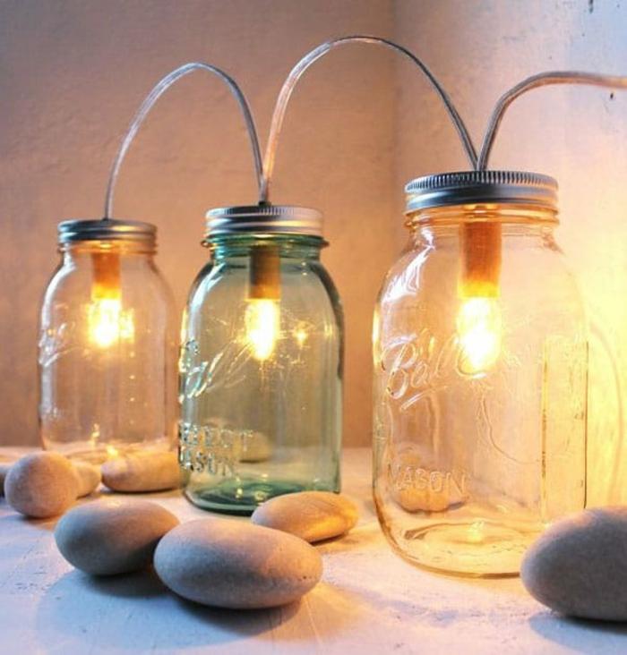 décoration récup faire lampe bocaux en verre