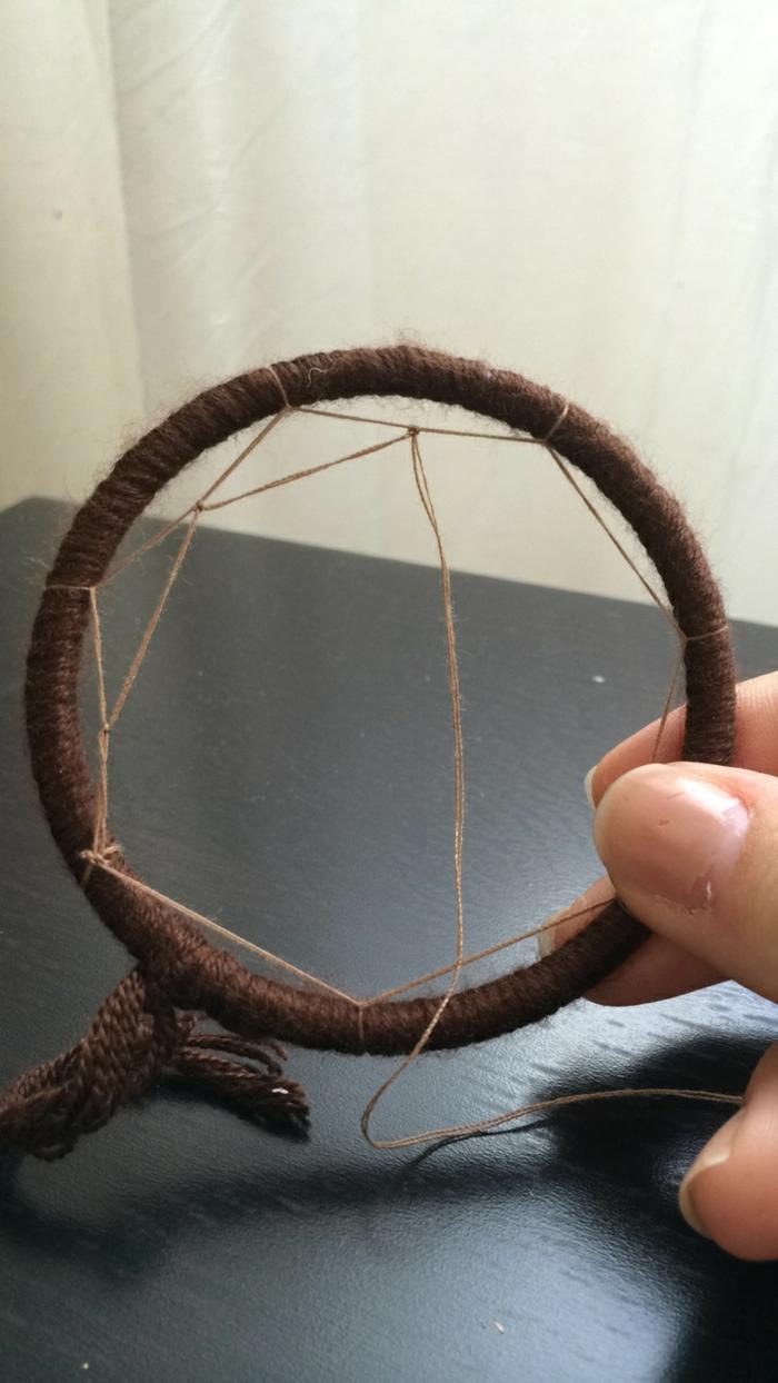 diy attrape-rêve créer des mailles dans le cercle