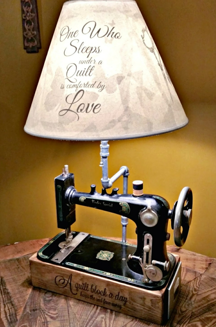 diy lampe de chevet de machine à coudre