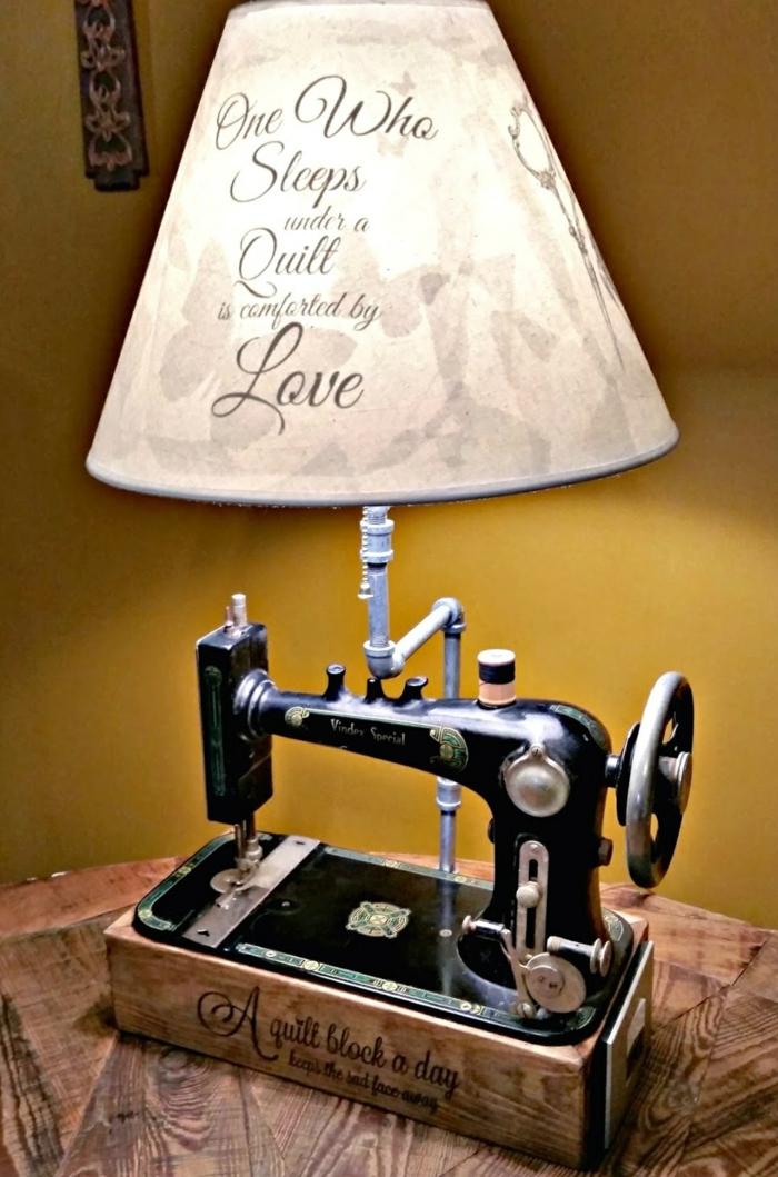 diy lampe de chevet de machine à coudre