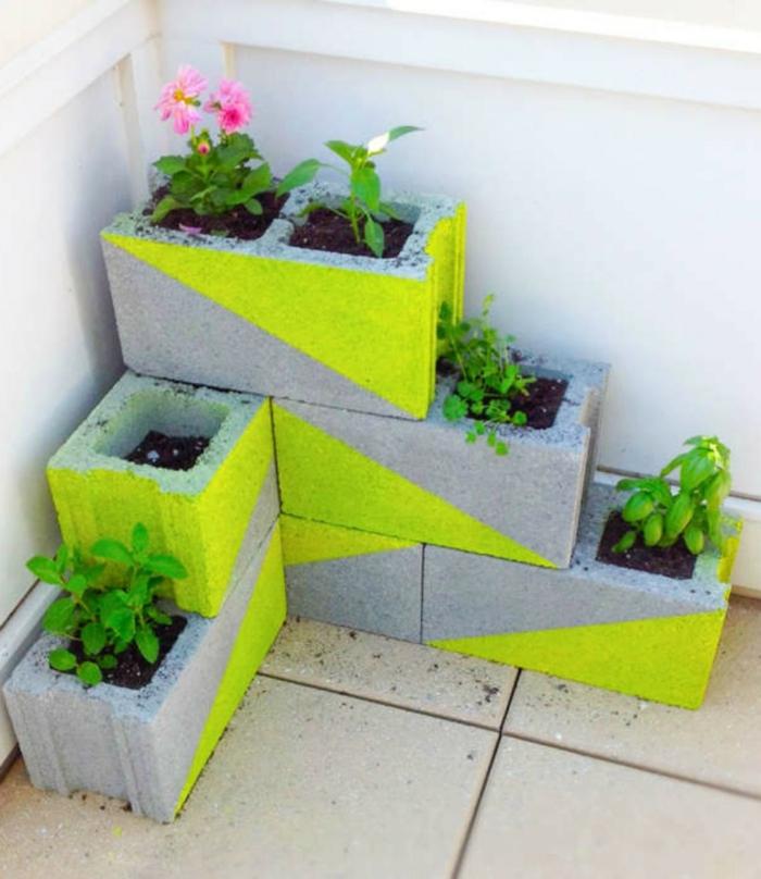 diy mini jardin balcon parpaings