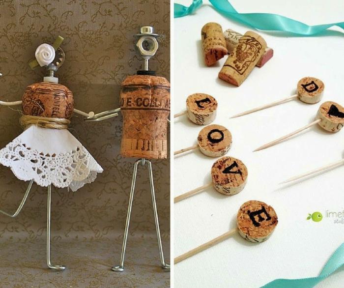 figurines tarte de mariage bouchons de liège