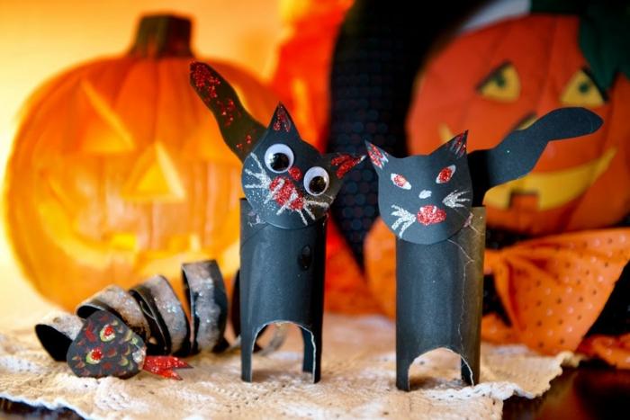 halloween chats noirs tubes de papier toilette