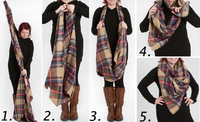 Charpe femme techniques comment porter cet accessoire avec style - Grosse echarpe plaid ...