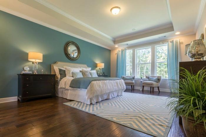 idée aménagement chambre à coucher élégante bleu canard