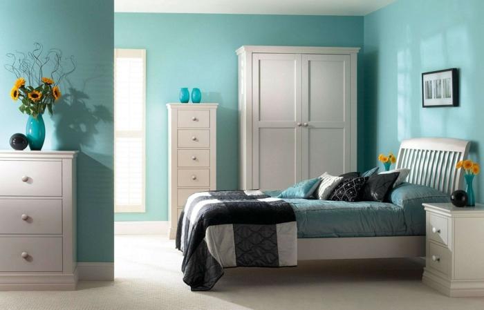 idée aménagement chambre bleu canard