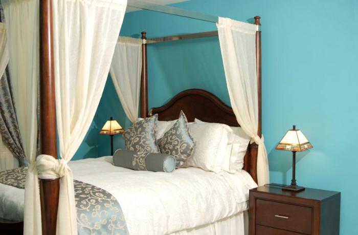 idée chambre bleu canard murs peints