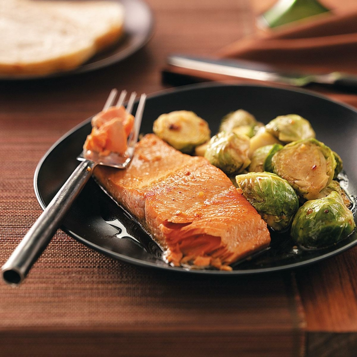 choux de Bruxelles et saumon