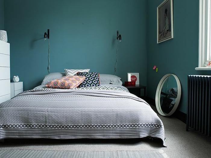 idée déco chambre bleu canard