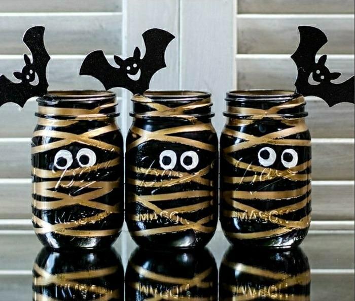 idée déco halloween verre bocal diy