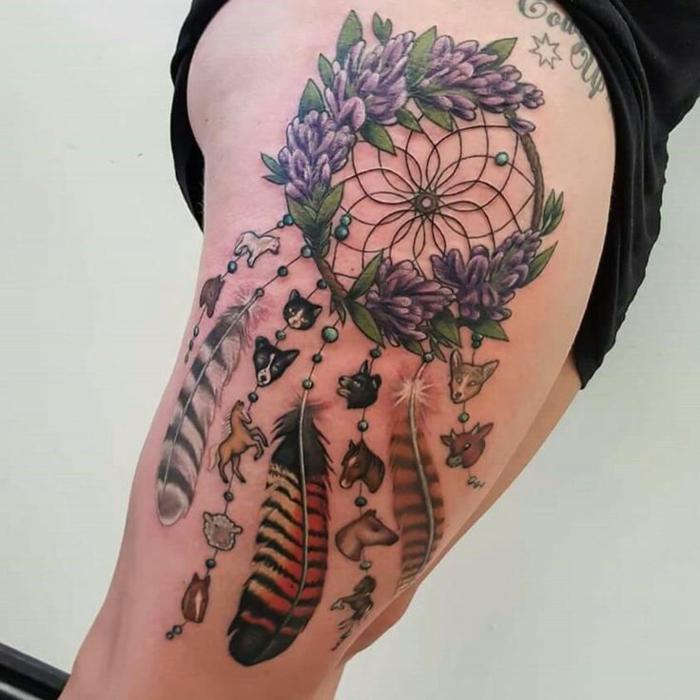 idée de tatouage attrape-rêve animaux