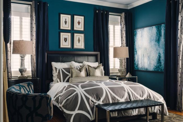 idée design pièce chambre bleu canard