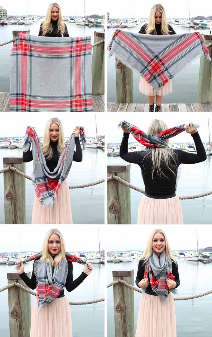 idées comment porter écharpe femme