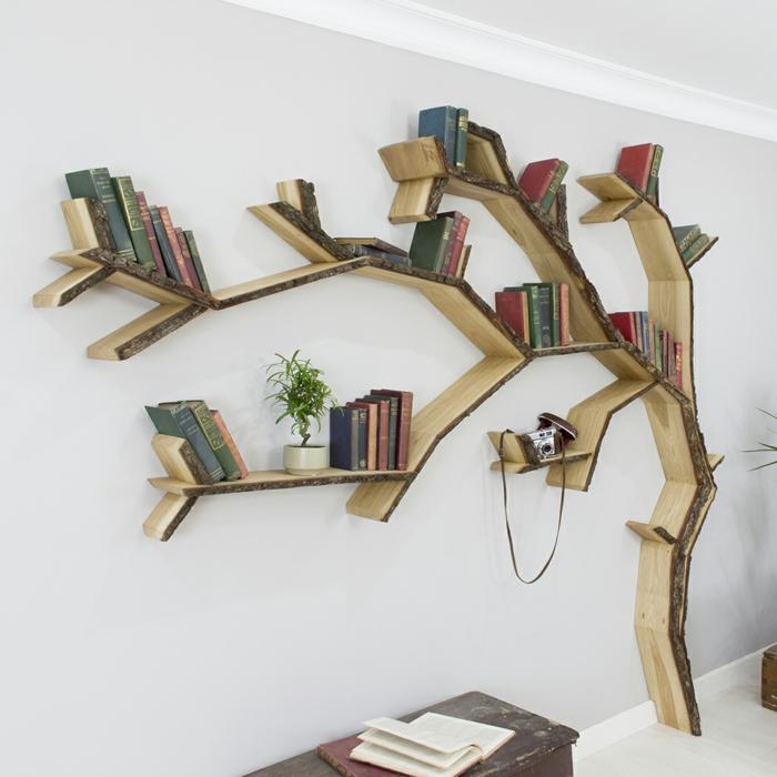 idées meuble bibliothèque en forme d'arbre