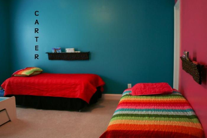 intérieur moderne chambre d'enfant bleu canard