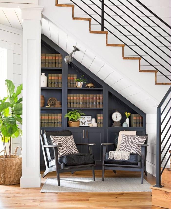 meuble-bibliothèque-sous-l'escalier