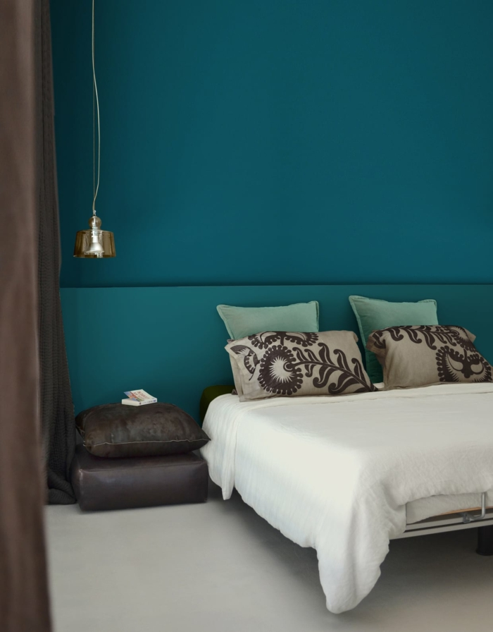 petite chambre bleu canard