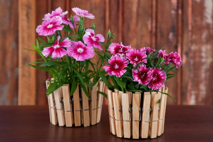 diy un pot de fleurs avec pince à linge
