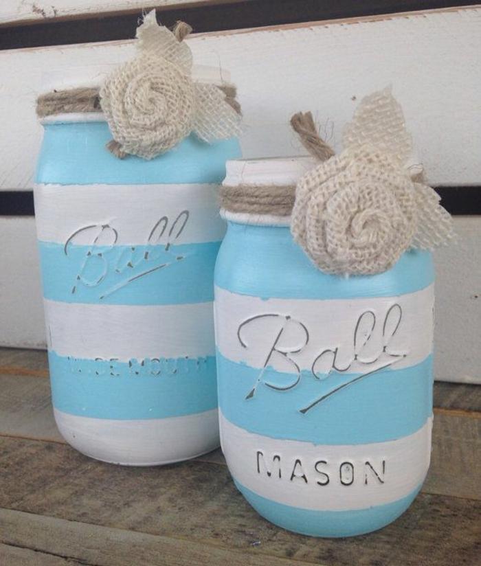 pots mason paint bocaux