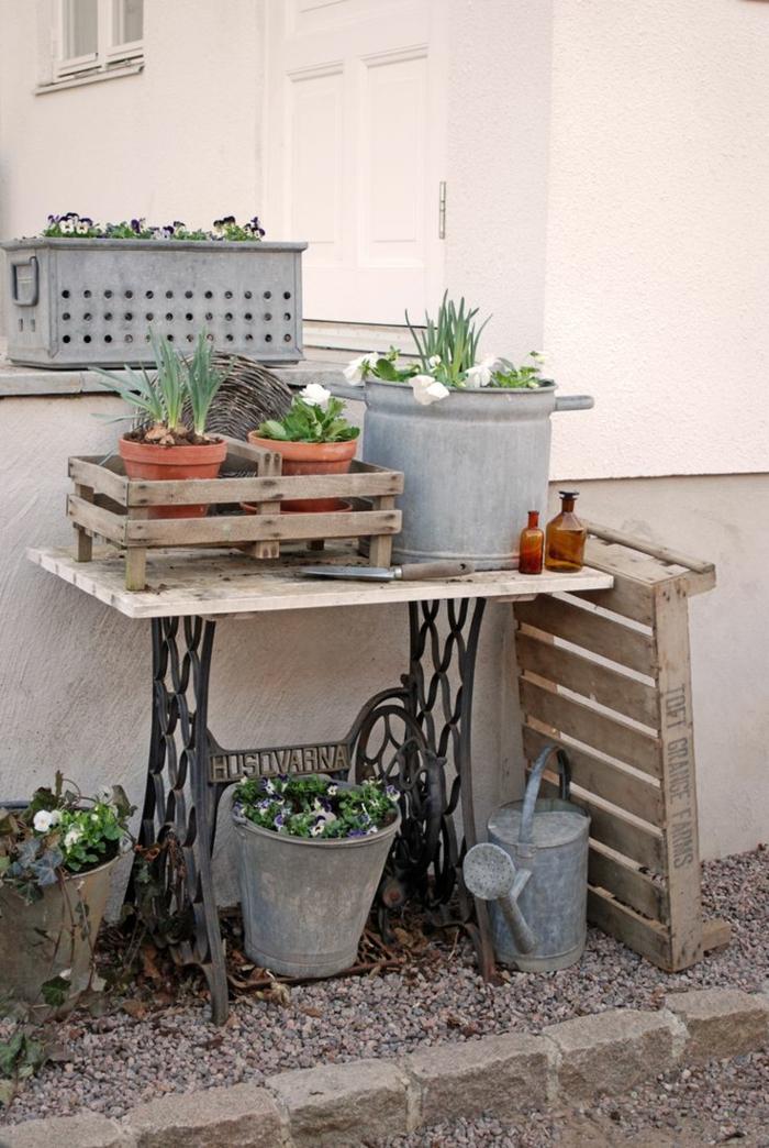 table de jardin machine à coudre