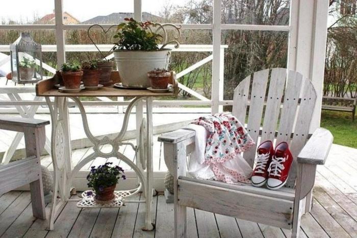 table de machine à coudre terrasse