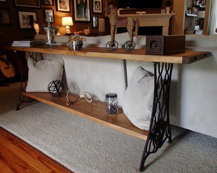 table de salon fabriquée de machine à coudre