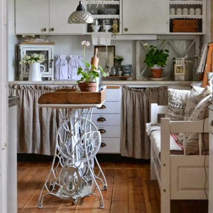 table vintage cuisine machine à coudre