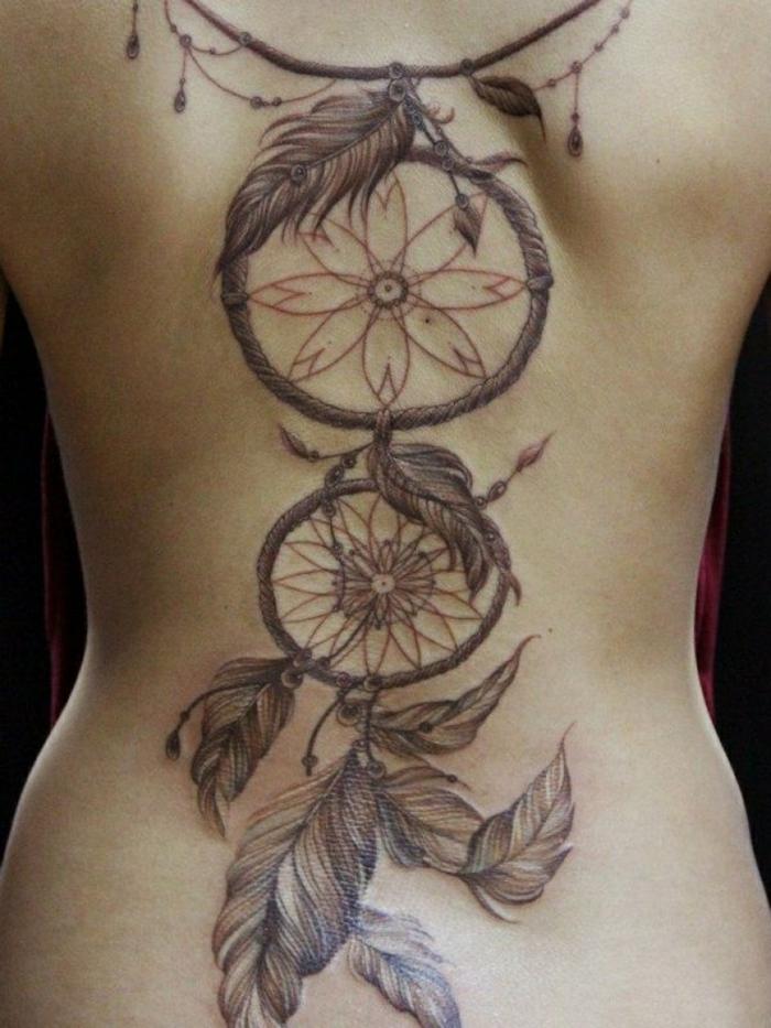 tatouage attrape-rêve double