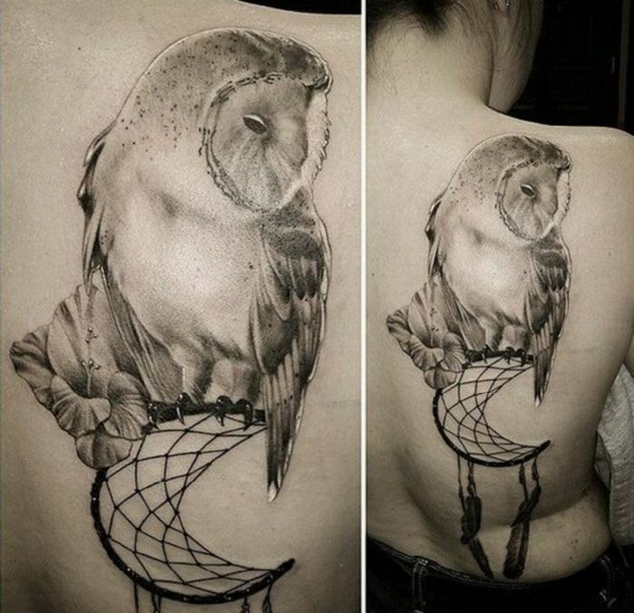 tatouage attrape-rêve hibou femme