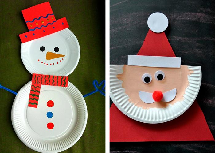 activité manuelle facile enfants déco noël assiettes en carton