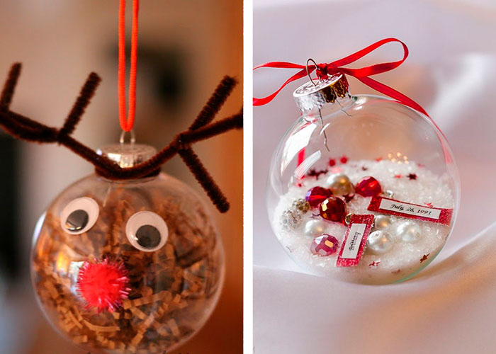 activité manuelle facile pour enfants remplir des boules de noël décorations
