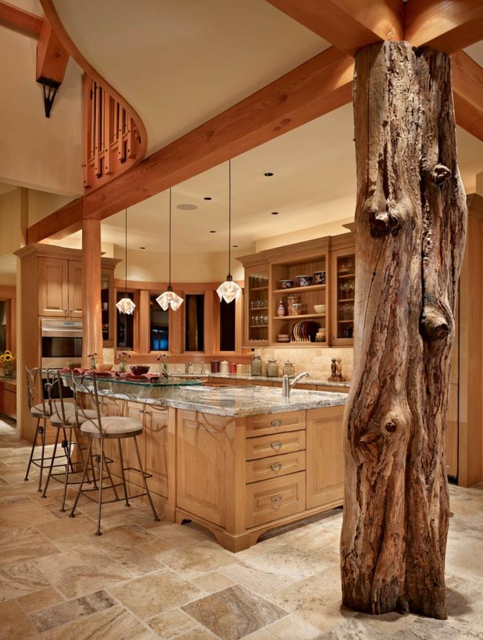 aménagement équipement idée cuisine rustique moderne bois