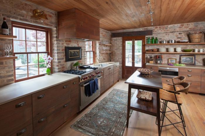 aménagement cuisine rustique moderne murs en briques rangements muraux