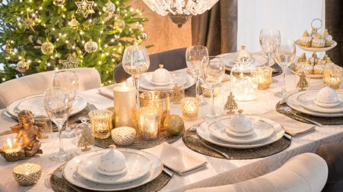 argent or et blanc décoration de table de noël